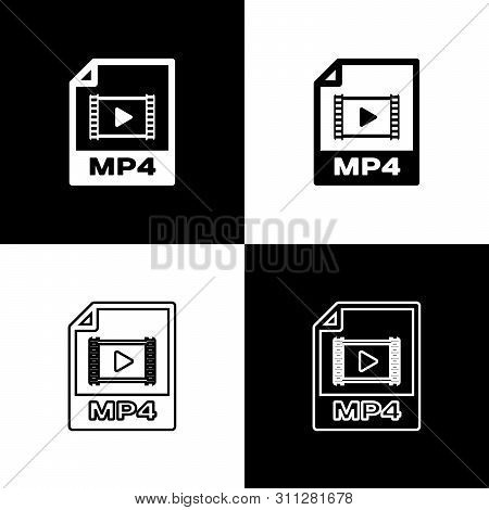 Set Mp4 File Document Icon. Download Mp4 Button Icons Isolated On Black And White Background. Mp4 Fi
