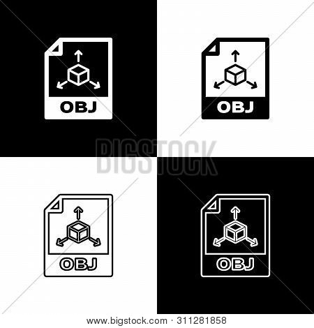 Set Obj File Document Icon. Download Obj Button Icons Isolated On Black And White Background. Obj Fi
