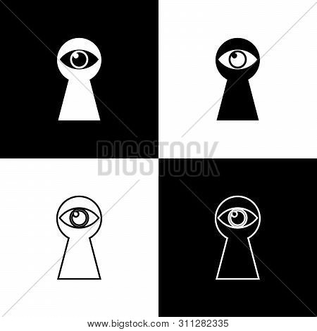 Set Keyhole With Eye Icons Isolated On Black And White Background. The Eye Looks Into The Keyhole. K