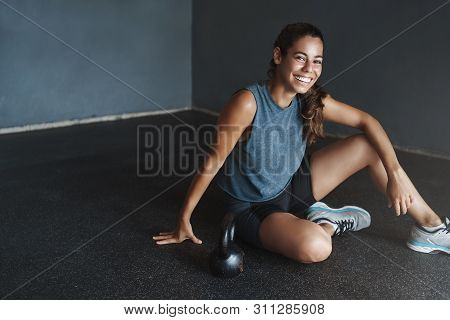 Active Lifestyle And Sport Concept. Happy Gorgeous Fit Sportswoman Wear Sportswear, Motivated Good T