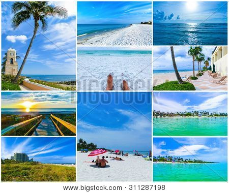 Collage About Beachs At Usa - West Palm Beach, Naples, Florida, Cocoa Beach, Miami, Siesta Key And F