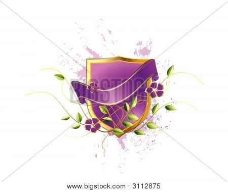 Purple Shield With Golden Frame,Flowers And Leaves