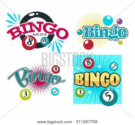 Bingo Game Gambling Equipment Balls With Numbers Isolated Icons