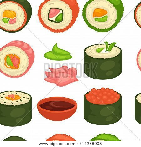 Sushi Japanese Cuisine Seamless Pattern Ginger And Wasabi