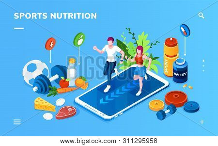 Isometric Screen For Sport Or Healthy Nutrition Application. Man And Woman Jogging On Smartphone Nea