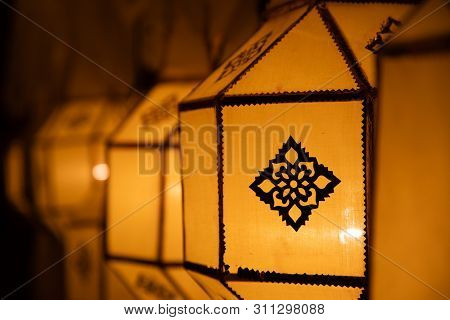 Thai Yellow Paper Street Lantern On Street Decoration During Loy Krathong And Yi Peng