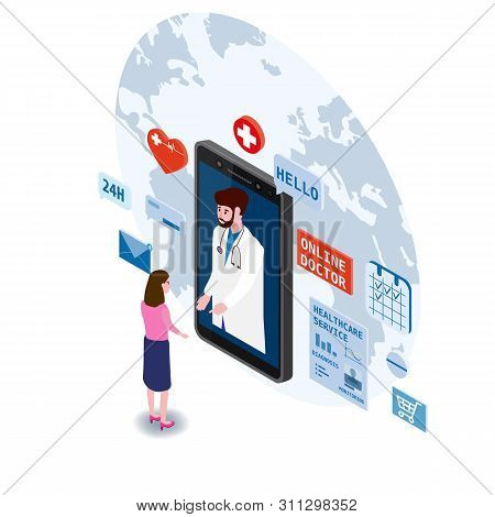 Doctor Online Isometry Healthcare And Medical Consultation Using A Smartphone Technology. Patient Wo