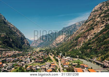 Beautiful Landscape In The Aosta Valley Mountainous Region In Northwestern Italy. Alpine Valley In S