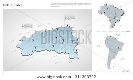 Vector Set Of Brazil Country.  Isometric 3d Map, Brazil Map, South America Map - With Region, State
