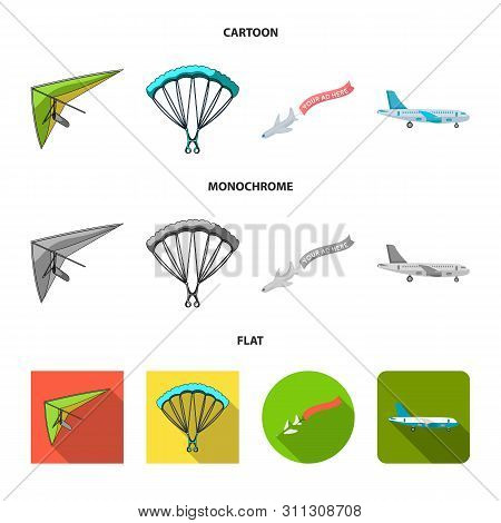 Vector Illustration Of Transport And Object Symbol. Collection Of Transport And Gliding Vector Icon