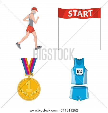 Isolated Object Of Step And Sprint Icon. Collection Of Step And Sprinter Stock Vector Illustration.