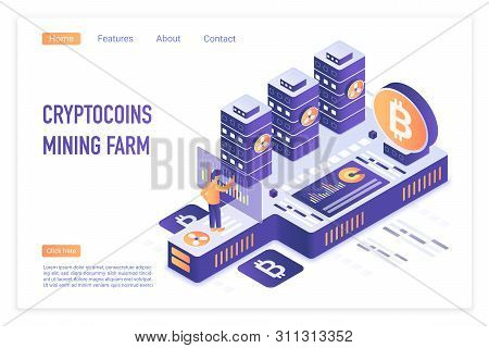Cryptocurrency Mining Farm. Bitcoin Financial Transactions, Digital Currency. Crypto Mining, Blockch