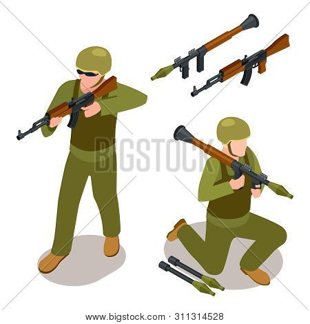 Special Forces Soldiers And Military Weapons Isometric Vector Isolated On White Background. Isometri