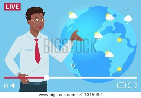 Man Anchorman Wheather Channel Vector Illustration. Worldwide Weather Forecast Concept. Weather News