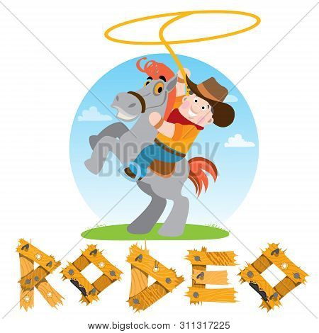 Man On A Horse. Cowboy. Rodeo. Wild West Illustration