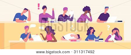 Students At Lecture. Lecture Hall, Examination Time, Education Vector Concept. Student On Seminar Ed