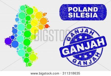 Rainbow Colored Dot Silesian Voivodeship Map And Rubber Prints. Blue Round Ganjah Distress Seal. Gra