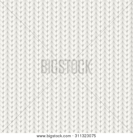 Knitted Vector Seamless Pattern. White Merino Wool Knit Texture. Realistic Warm And Cozy Handmade Kn