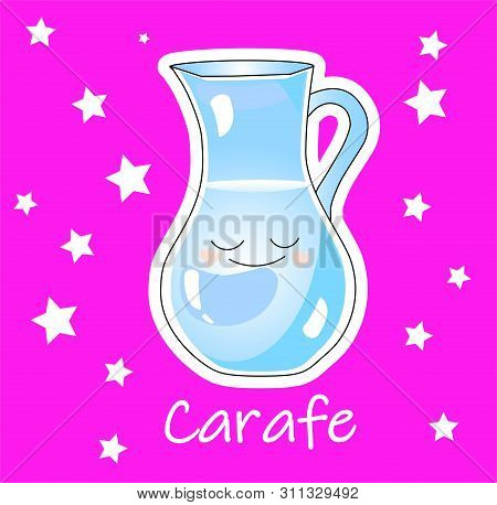 A Carafe Or Jug For Water And Milk On A Pink Background. Childrens Card.