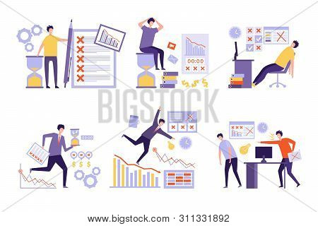 Plan Fails. Over Much Tasks Bad Management Non Organized Business People Overtime Work Schedule Vect