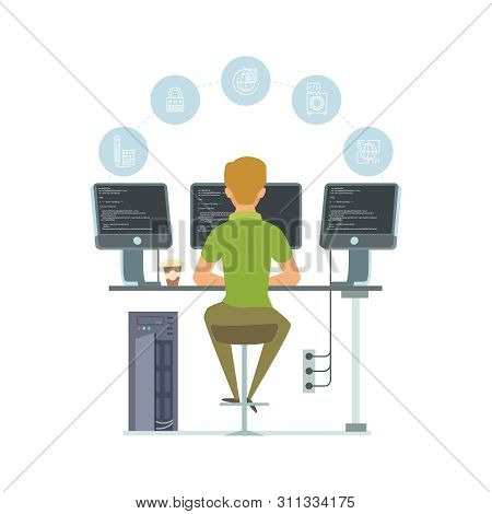 Programmer, Information Technology Worker Vector Illustration. Programming Icons And Software Develo