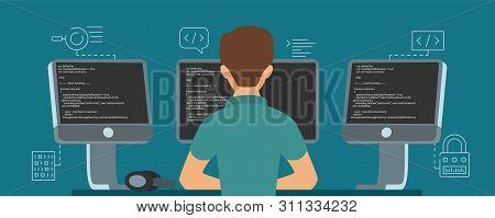 Software Developer Character. Vector Programmer Develops Code Illustration. Programmer Programming S
