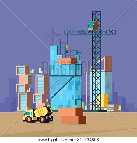 Construction Flat. Vector Low Poly Buildings Production House Builder Landscape Vector Picture. Cons