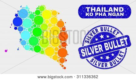 Spectral Dotted Ko Pha Ngan Map And Watermarks. Blue Rounded Silver Bullet Scratched Seal Stamp. Gra