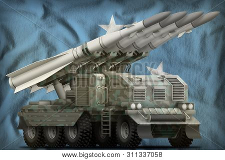 Tactical Short Range Ballistic Missile With Arctic Camouflage On The Micronesia Flag Background. 3d