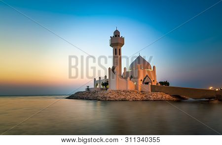 Beautiful Al Khobar Corniche Mosque Sunrise -saudi Arabia.