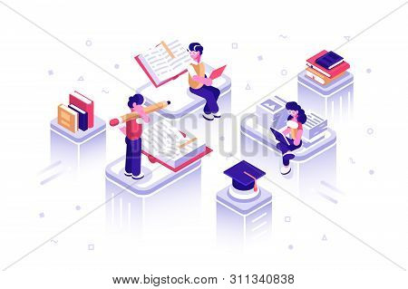 Dictionary, library of encyclopedia or web archive. Technology and literature. Media book library concept. E-book, reading an ebook to study on e-library at school. E-learning online, archive of books poster