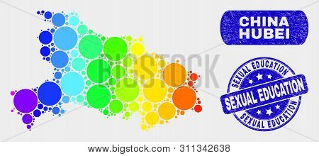 Rainbow Colored Spotted Hubei Province Map And Rubber Prints. Blue Rounded Sexual Education Textured