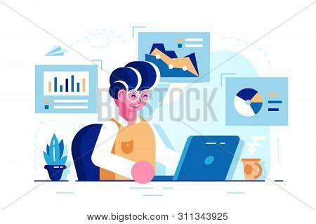Young Man Sitting In The Office At Work Desk And Working With Laptop. Vector Illustration Of Busines
