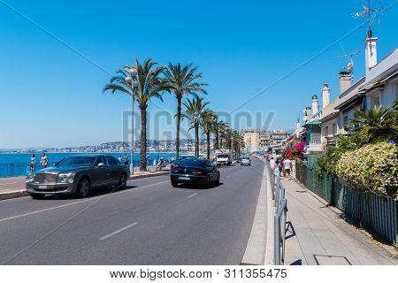 Nice, France - June 2, 2019: Quai Des Etats-unis Street.