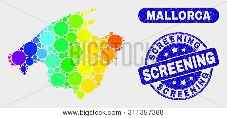 Rainbow Colored Dot Mallorca Map And Rubber Prints. Blue Round Screening Textured Stamp. Gradiented