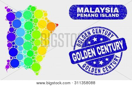 Spectral Spotted Penang Island Map And Rubber Prints. Blue Round Golden Century Scratched Watermark.