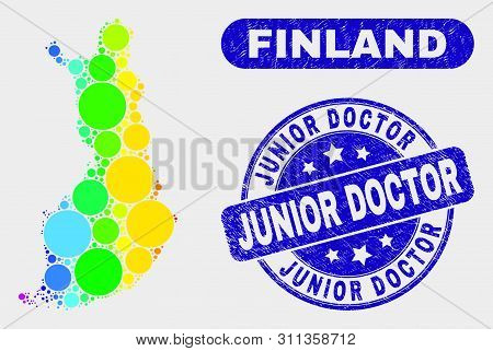 Spectral Dotted Finland Map And Seals. Blue Round Junior Doctor Scratched Seal. Gradient Spectral Fi