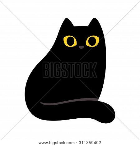 Cartoon Black Cat With Yellow Eyes. Simple And Minimal Sitting Cat Drawing, Cute Vector Illustration