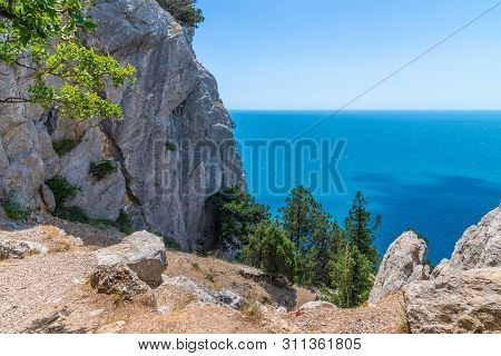 Landscape On A Cat Mountain With The Black Sea In Crimea