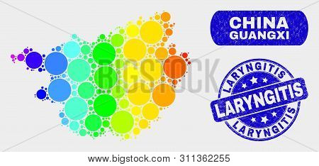 Rainbow Colored Dotted Guangxi Province Map And Seal Stamps. Blue Rounded Laryngitis Textured Seal.