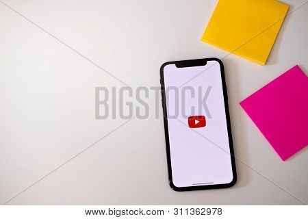 Chiangmai, Thailand - Jun 23,2019 : An Apple Iphone Xs With Youtube Application On The Screen.