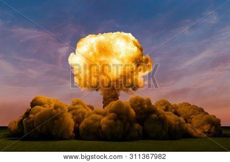 Atom Bomb Explosion On Sky Backdrop, 3d Rendering