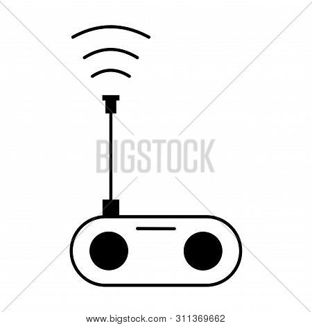 Flat Linear Design. Radio Icon Vector, Old Retro Receiver Waves, Tuner Sign. Trendy Flat Style For G