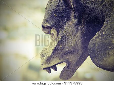 Detail Of The Monstrous Statue Called Gorgolla In The Cathedral Of Notre Dame Before The Terrible Fi