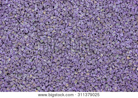 Lilac Violet Rubber Coating For Children Playground. Texture Granular Background. Outdoor Floor Cove