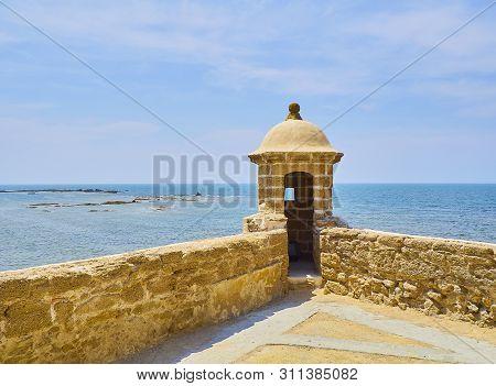 Cadiz, Spain - June 23, 2019. Sentry Box Of  Of The  Santa Catalina Castle. Cadiz. Andalusia, Spain.