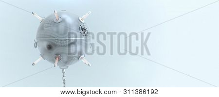 Sea Mine From Soft Translucent Silicone With A Monstrous Mutated Worm Inside. Biological Weapon Meta