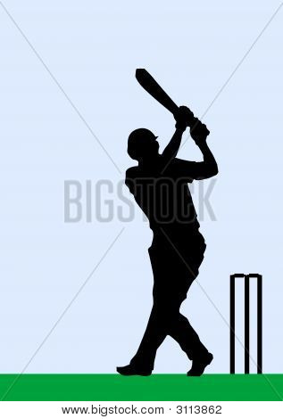 Silhouette Of A Cricketer Batting A Ball