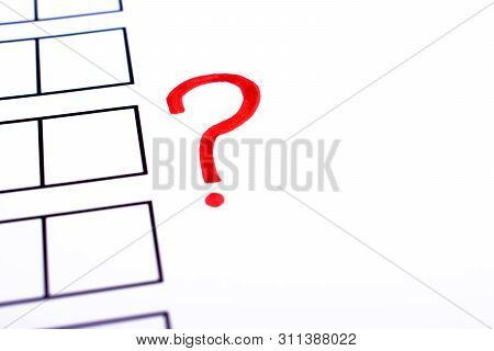 White bulletin with checkboxes and red question mark as a symbol of indefinite choice. Elections, test, choice and approval concept. Copy space for text. poster