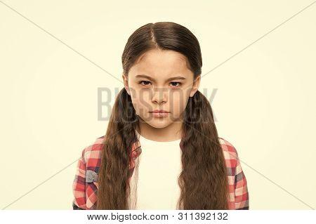 Kid Girl Suspect You. Brutal Revenge. Unhappy Child Hateful Glance. Someone Deserve Punishment Reven